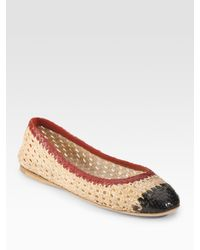 Prada | Natural Tricolor Woven Leather Ballet Flats | Lyst