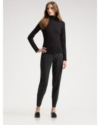 Prada | Black Jersey Mock Turtleneck Top | Lyst
