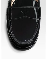 Prada - Black Patent Leather Pinked Penny Loafers - Lyst