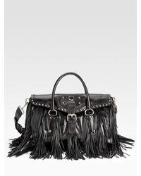 brown leather zip around purse - Prada Vitello Shine Fringed Satchel in Black | Lyst