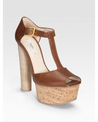 Prada - Brown T-strap Cork Platform Sandals - Lyst