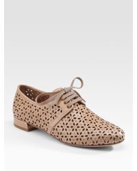 Prada | Natural Laser-cut Lace-up Oxfords | Lyst