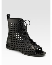 Proenza Schouler | Black Laser-cut Lace-up Ankle Boots | Lyst