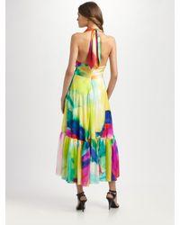 Ralph Lauren Blue Label - Black Tie-dyed Silk Halter Dress - Lyst