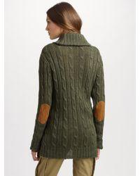 Ralph Lauren Blue Label - Green Linen Cardgian Sweater - Lyst