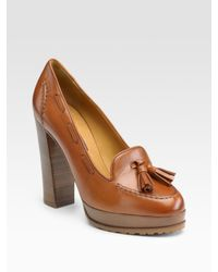 Ralph Lauren Collection | Brown Gianna Platform Loafer Pumps | Lyst