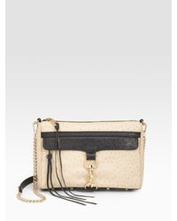 Rebecca Minkoff | Beige Ostrich-embossed Leather Clutch | Lyst