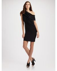 Richard Chai Love | Black Draped Shoulder Dress | Lyst