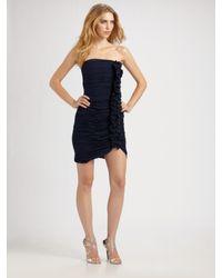 Shoshanna | Blue Ruffle Front Dress | Lyst
