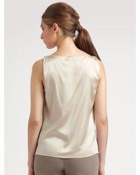 St. John - Natural Silken Suede Ruched Jacket - Lyst