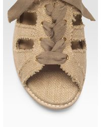 Stuart Weitzman - Natural Woven Silk Lace-up Loafers - Lyst