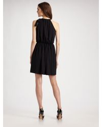 Theory | Black Gathered Side-tie Dress | Lyst