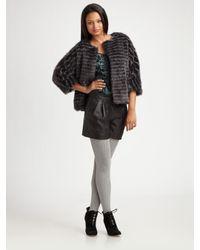 Tibi Gray Faux Fur Short Coat