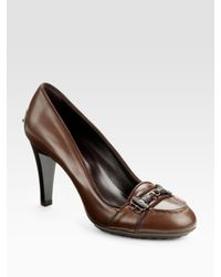 Tod's | Brown Moccasino Doppia Pumps | Lyst