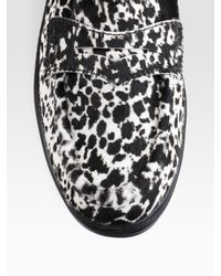 Tod's - White Gommini Leopard-print Pony Hair Loafers - Lyst