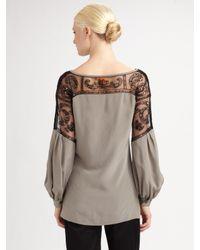 Tory Burch - Gray Embellished Silk Top - Lyst