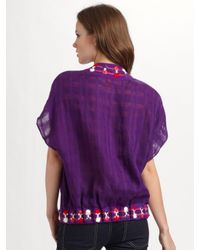 Tory Burch | Purple Embroidered Crossover Tunic Top | Lyst