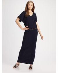 Vince | Blue Belted Maxi Dress | Lyst