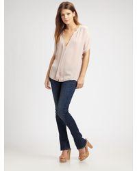 VINCE | Pink Silk V-neck Blouse | Lyst