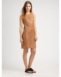 VINCE | Brown Leather Jumper Dress | Lyst