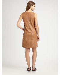 Vince | Brown Leather Jumper Dress | Lyst