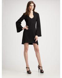 Saint Laurent | Black Bell Sleeve Dress | Lyst