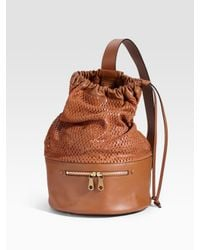 Chloé | Brown Charlie Perforated Leather Bucket Bag | Lyst
