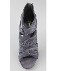 Elizabeth and James - Blue Love Knotted Suede Sandals - Lyst