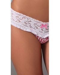 Hanky Panky | Pink Mini Hearts Signature Lace Ruffle Low Rise Thong | Lyst