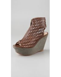 House of Harlow 1960 | Brown Fionna Zip Front Platform Booties | Lyst