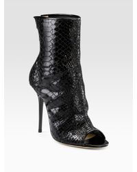 Jimmy Choo | Black Fantasy Snake-embossed Open-toe Ankle Boots | Lyst