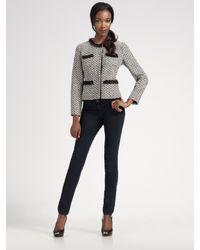 MILLY Gray Ines Herringbone Tweed Jacket