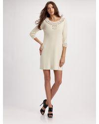MILLY | White Crochet Sweater Dress | Lyst