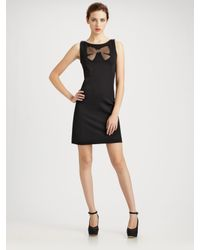 Boutique Moschino | Black Laser-cut Bow Jersey Dress | Lyst