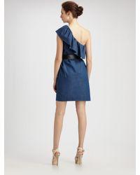 Boutique Moschino - Blue Denim Ruffle One Shoulder Dress - Lyst