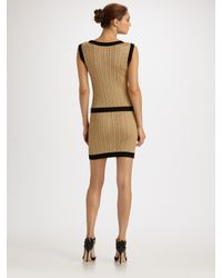 Boutique Moschino - Metallic Lurex Cable Knit Belted Dress - Lyst