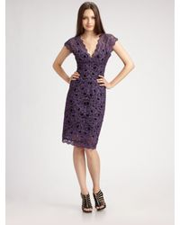 Nicole Miller | Purple Lace Cap Sleeve V-neck Dress | Lyst