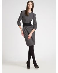 Ports 1961 | Gray Stretch Wool Gabardine Dress | Lyst