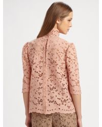 Stella McCartney - Pink Monaroa Cotton Lace Top - Lyst