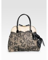 Valentino | Natural Nuage Lace & Straw Top Handle Bag | Lyst