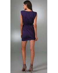 Alice + Olivia - Purple Belted Silk Wrap Dress - Lyst