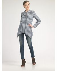 Elizabeth and James - Blue June Striped Silk Shirt - Lyst