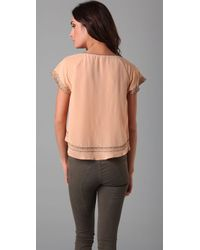 Joie | Pink Alissa Embroidered Silk Top | Lyst