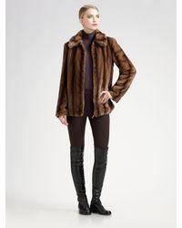 St. John | Brown Faux Fur Reversible Coat | Lyst