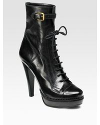Burberry | Black Lace-up Leather Ankle Boots | Lyst