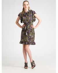 MILLY | Purple Silk Leopard-print Dress | Lyst