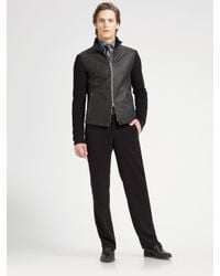 Armani | Black Leather & Shearling Jacket for Men | Lyst
