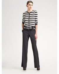 St. John | Gray Marie Wool Straight Leg Pants | Lyst