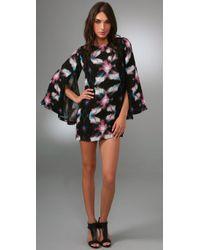 Halston | Black Tunic Mini Dress | Lyst