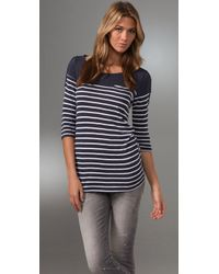 Splendid | White Navy Breton Stripe Top | Lyst